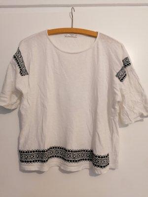 Mango T-shirt wit-zwart