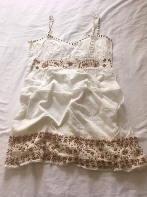 Blanco Top z cienkimi ramiączkami biały-jasnobrązowy