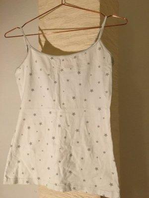 weißes Spaghetti-Top mit grauen Sternen, Größe M