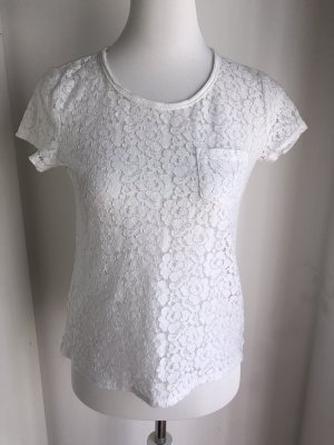 Weißes Spitzen Shirt Größe S