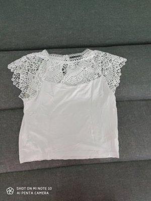 Weißes Spitzen T-Shirt