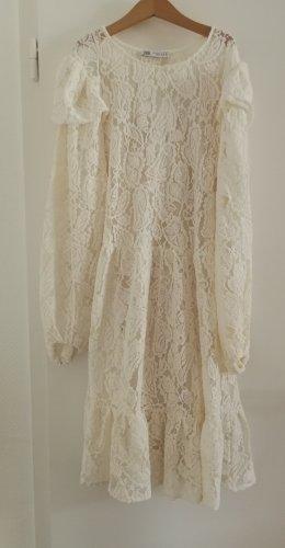 Weißes Spitzenkleid Zara S