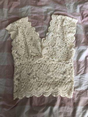 Zara Haut en crochet blanc cassé
