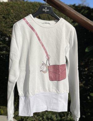 Weißes Sweatshirt mit Einhorn-Print
