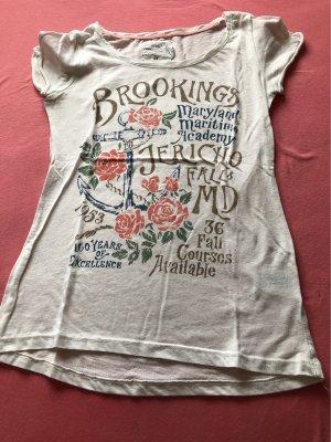 H&M T-shirt biały-różowy