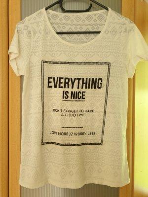 Weisses T-Shirt Flock Print leicht transparent