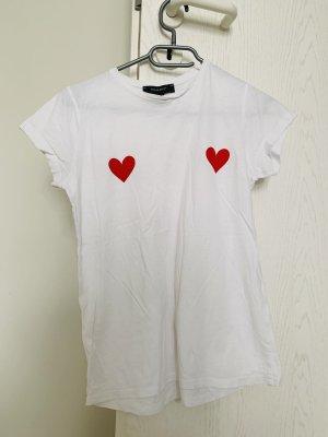 Primark T-shirt biały-czerwony