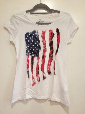 Weißes T-Shirt mit Amerika Aufdruck, Gr. M, FB Sister