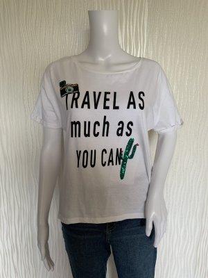 Weißes T-Shirt mit Aufdruck und Pailetten von Clockhouse Gr. M