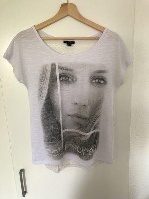 Weißes T-Shirt mit Aufdruck und Spitze
