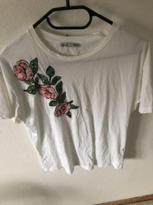 Weißes T-Shirt mit Blumen