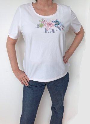 weißes T-Shirt mit Blumen-Motiv von Basler, Größe 46