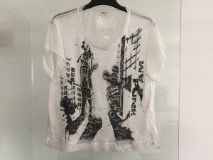 Celebrity Shirt met print wit-zwart Linnen