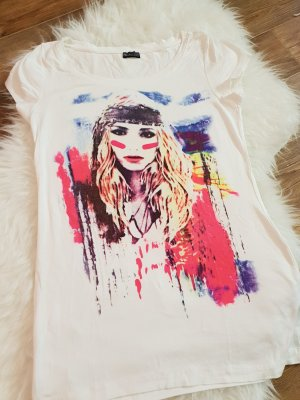 Weißes T-Shirt mit Hippieprint, Coachella, Gr. S