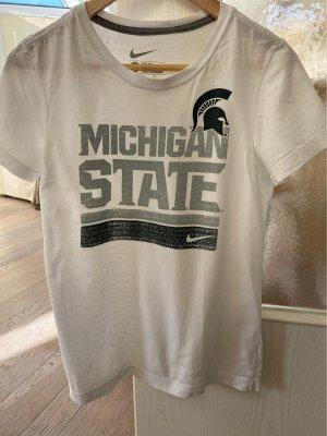 """Weißes T-Shirt mit """"Michigan State""""- Logo, slim fit"""