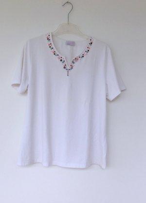 weißes T-Shirt mit Perlen-Verzierung, Basler, Größe 46