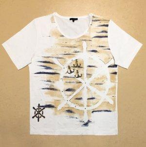 weißes T-Shirt mit Printmotiv und Kettchen, U-Ausschnitt, Gr. M
