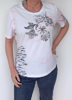 weißes T-Shirt mit rosa Streifen und Stickerei, Basler, Größe 46