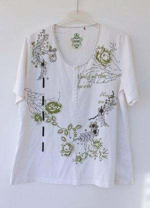 weißes T-Shirt mit Rosen von Frank Walder, Größe 46