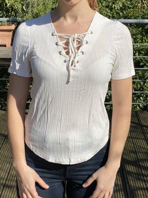 weißes T-Shirt mit Schnürung ONLY
