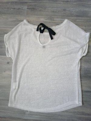 Weißes T-Shirt mit schwarzer Schleife