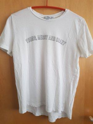 Weißes T-Shirt mit Spruchzug