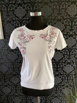 Weißes T-Shirt mit Stickerei von Oysho, Gr. S