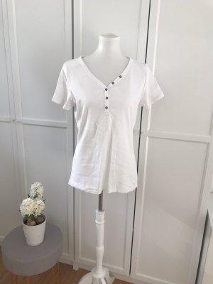 Weißes T-Shirt mit Zierknöpfen