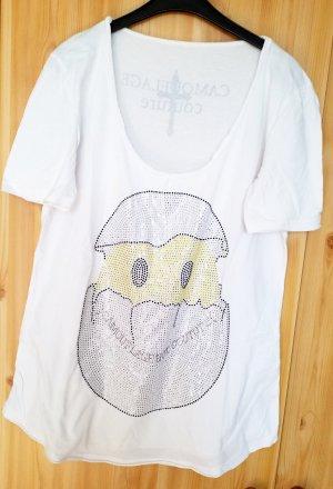 weißes T-Shirt von Camouflage couture mit hunderten kleinen Strasssteinen. Neupreis 259 Euro Wie neu.
