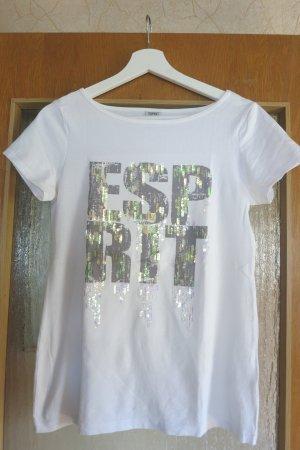 weisses T-Shirt von Esprit mit Pailletten Gr. S