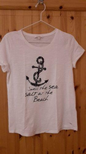 weisses T-Shirt von Tom Tailor Denim , Gr. S mit einem Ankermotiv