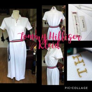 Weißes Tommy Hilfiger Polo Kleid mit Gürtel S