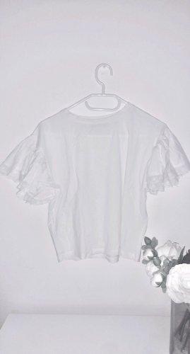 Weißes top bluse oberteil Shirt volants rüschen