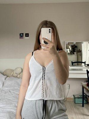 H&M Koronkowy top biały