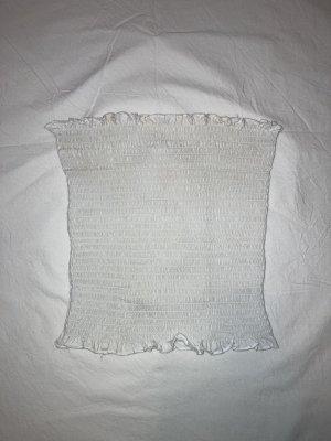 H&M L.O.G.G. Top z dekoltem typu bandeau biały