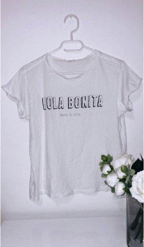 Weißes top shirt oberteil tshirt mango deuck slogan