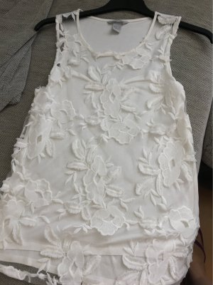 H&M Top a uncinetto bianco
