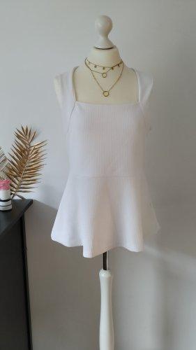 H&M Top peplo bianco Tessuto misto