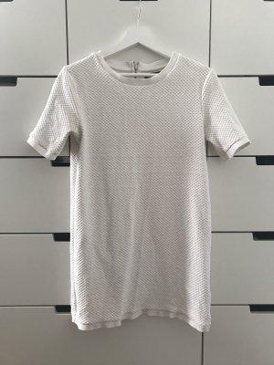 Weißes Tshirt Kleid Wabenoptik mit Reißverschluss