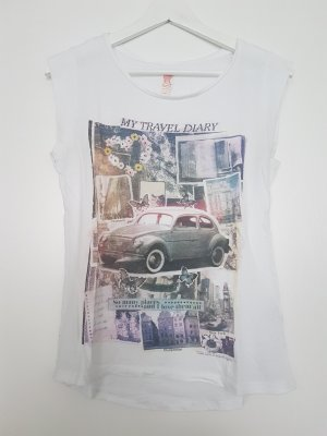 weißes Tshirt mit Print von ZARA