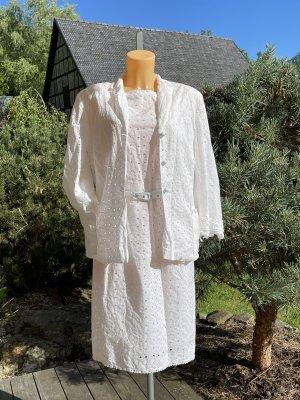 Weißes Vintage-Kostüm * Etuikleid * Blazer * mit Gürtel