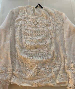 Zara Top di merletto bianco