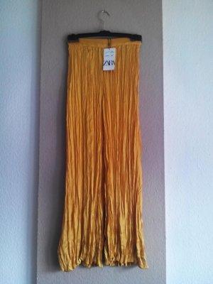 Zara Pantalon palazzo jaune primevère polyester