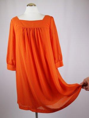 Weit Oversize Tunika Bluse Minikleid H&M Größe 40 Orange Krepp Chiffon Living Koralle Hängerchen Kleid Retro 60er 70er Look