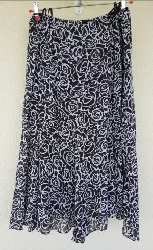 Falda larga blanco-marrón oscuro