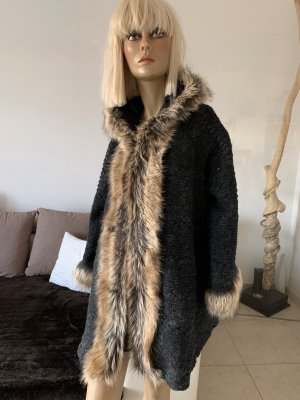 Weit schwingendes Woll-Cape .. anthrazit .. Fake Fur .. Gr. S -L # Made In Italy # blogger