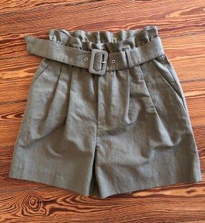 Zara Women Bermuda khaki-grijs-groen Katoen