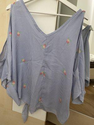 Myhailys Koszulka oversize biały-stalowy niebieski