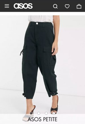Asos Petite Pantalone a 7/8 nero-verde scuro