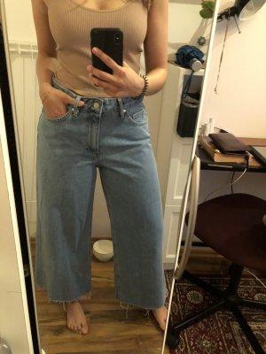 Zara Spodnie typu boyfriend błękitny